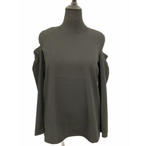 Club Monaco Black Long Sleeve Cold Shoulder Top L